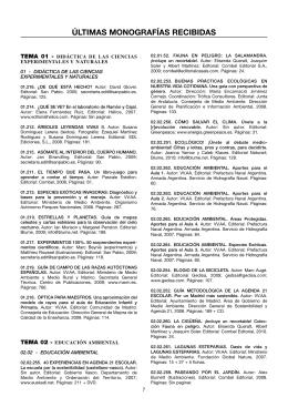 Útimas monografías recibidas (140 Kbytes pdf)