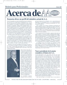 Otoño 2005: Encuesta ofrece un perfil del miembro actual de A.A.