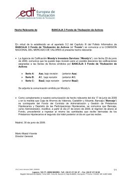 Hecho Relevante de BANCAJA 3 Fondo de Titulización de Activos