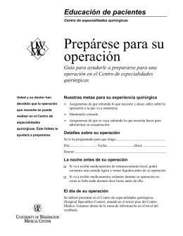 Prepárese para su operación - UWMC Health On-Line