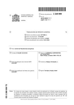 CONTROL DE PSEUDOMONAS AERUGINOSA.(ES2268000)