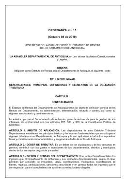 ORDENANZA No. 15 - Gobernación de Antioquia