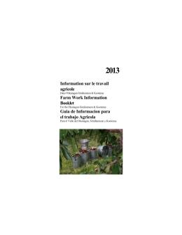 Information sur le travail agricole - Centre culturel francophone de l