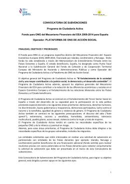 Convocatoria de subvenciones - Plataforma de ONG de Acción Social