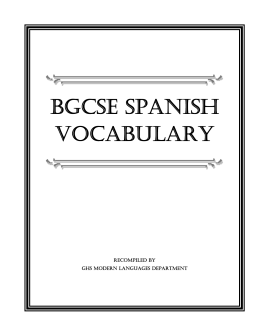 BGCSE SPANISH VOCABULARY - Michael Marks