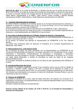 ACTA Nº 26 / 2012: En la ciudad de Montevideo, a dieciséis días del