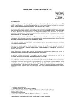 TURISMO RURAL Y GÉNERO. UN ESTUDIO DE CASO Leticia García