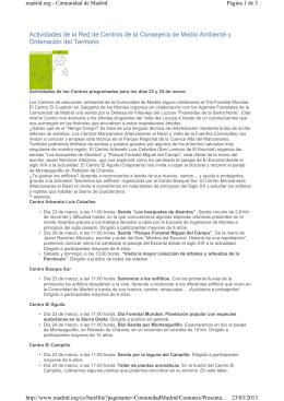 Actividades de la Red de Centros de Educación Ambiental de la CM