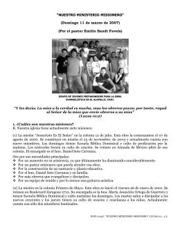 """""""NUESTRO MINISTERIO MISIONERO"""" (Domingo 11 de marzo de"""