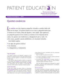 Patient Education Pamphlet, SP075, Los quistes ováricos