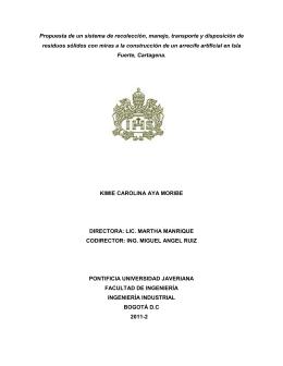 Propuesta de un sistema de recolección, manejo, transporte y