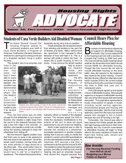 Newsletter Fall 2000 - Austin Tenants` Council