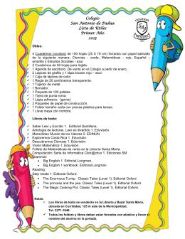 Colegio San Antonio de Padua Lista de Útiles Primer Año 2015
