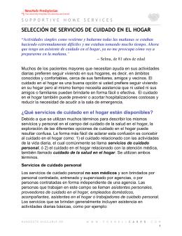 SELECCIÓN DE SERVICIOS DE CUIDADO EN EL HOGAR