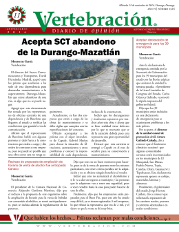 Acepta SCT abandono de la Durango-Mazatlán