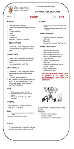 utiles para quinto - Colegio La Merced