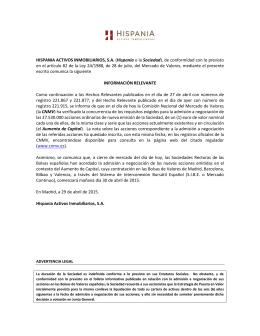 Admisión a negociación de las acciones nuevas tras la ampliación