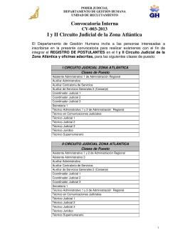 Convocatoria Interna I y II Circuito Judicial de la Zona Atlántica