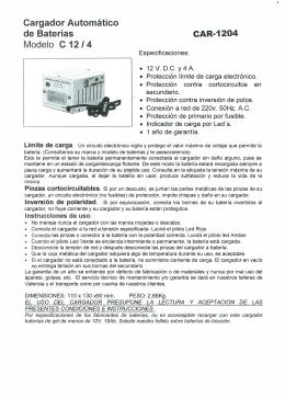 Cargador Automático de Baterías Modelo C 12/4