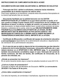 INSTRUCCIONES DE CUMPLIMENTACIÓN BECA