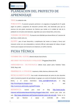 PLANEACION DEL PROYECTO DE APRENDIZAJE FICHA TÉCNICA