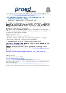 Mailing informativo - Programa de Educación a Distancia