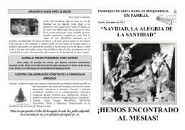 ¡HEMOS ENCONTRADO AL MESIAS! - Parroquia de Santa María