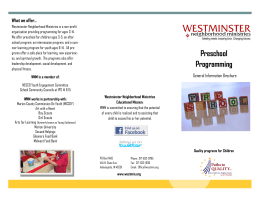 Preschool Programming - Westminster Neighborhood Services, Inc.