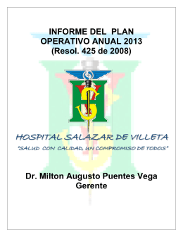 Informe POA 2013 - Hospital Salazar de Villeta