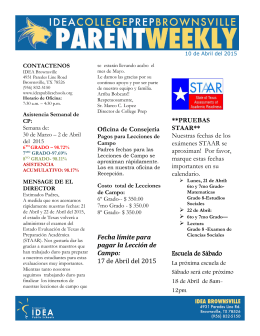 Parent Weekly, April 10, 2015 Spanish