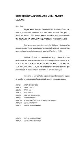 sindico presenta informe art.35 lcq – adjunta legajos.