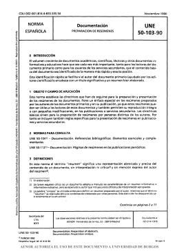 Norma UNE 50103:1990 Resúmenes
