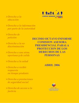 Primer informe trimestral de 2006 - Comisión Defensora Ciudadana