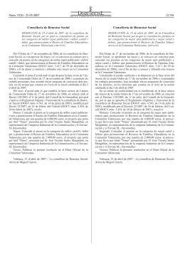 RESOLUCIÓ de 23 d`abril de 2007, de la consellera de Benestar