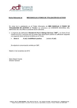 Hecho Relevante de MBS BANCAJA 6 FONDO DE TITULIZACIÓN