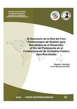 IX Seminario de la Red del Foro Parlamentario de Gestión para