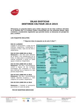 ISLAS EXOTICAS DESTINOS CELTOUR 2014-2015