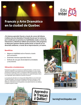Francés y Arte Dramático en la ciudad de Quebec