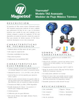 Thermatel® Modelo TA2 Avanzado Medidor de Flujo
