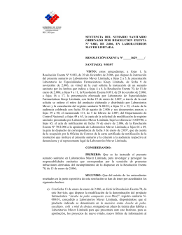 sentencia del sumario sanitario ordenado por resolucion exenta nº