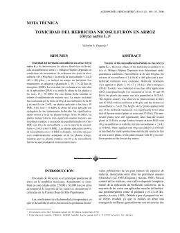 Toxicidad del herbicida nicosulfurón en arroz (Oryza sativa L).