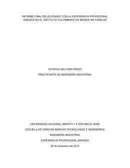 informe final relacionado con la experiencia profesional dirigida en