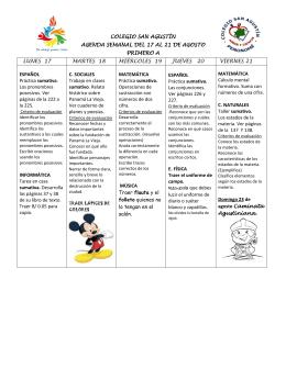 colegio san agustín agenda semanal del 17 al 21