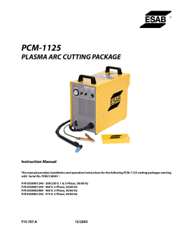 pcm-1125 plasma arc cutting package
