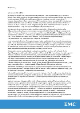 Marzo de 2014 Estimado accionista de EMC: Me complace