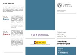 Invenciones Biotecnológicas Cuestiones clave en materia de