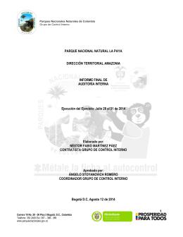 Informe Auditoria de Gestión LA PAYA 2014