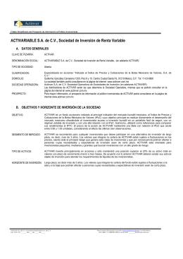 ACTIVARIABLE S.A. de C.V., Sociedad de Inversión de