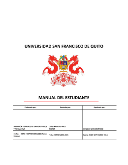 Manual del Estudiante - Universidad San Francisco de Quito