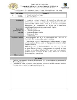 ACTIVIDADES DE NIVELACION LENGUA CASTELLANA O
